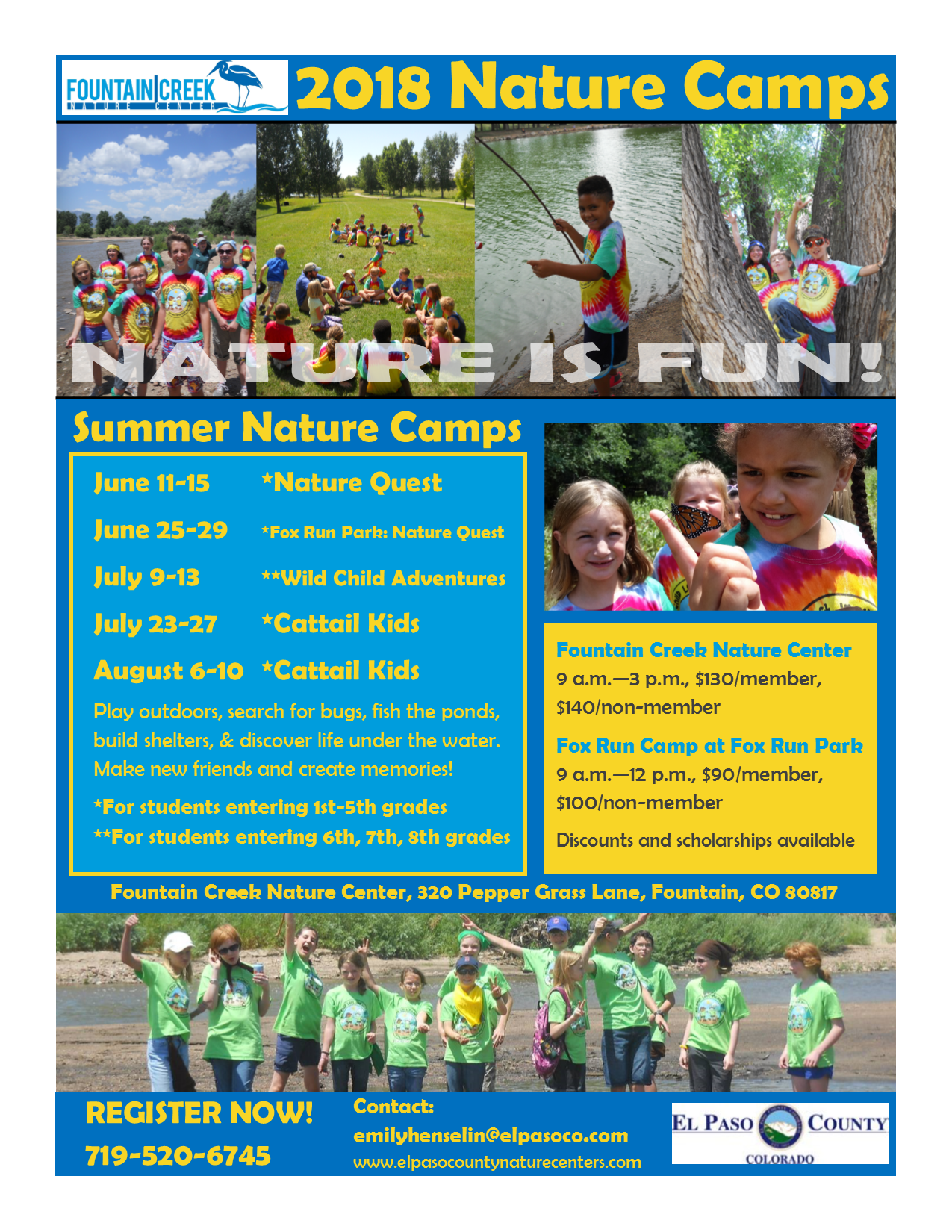 2018 Summer Camp flyer for Fountain Creek Nature Camps