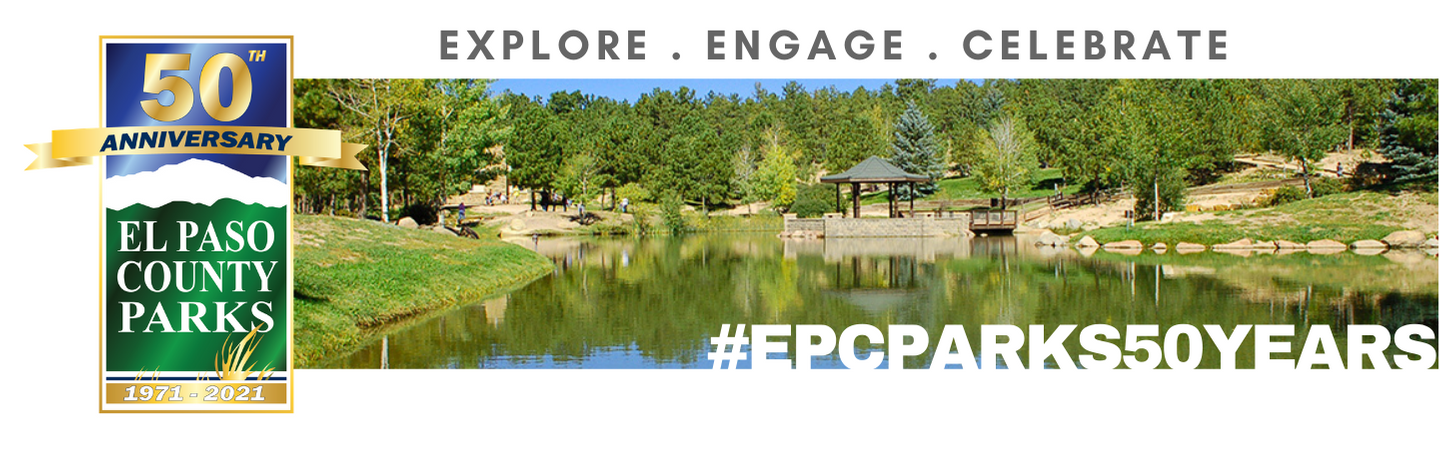 "Photo of Fox Run Regional Park Lake and Gazebo with words across the top: ""Explore.Engage.Celebrate."" and the 50th parks logo to the left of the photo and the hashtag ""EPCPARKS50YEARS"" overlayed on the photo in the bottom right corner"