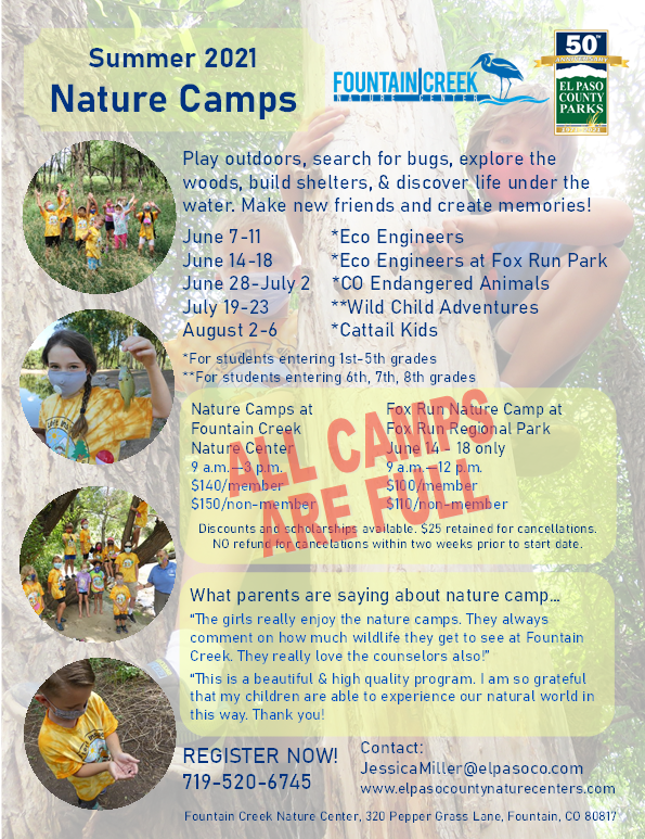 Flyer for Fountain Creek 2021 Nature Camps