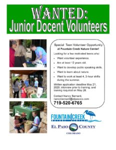 Jr Docent Volunteers for Fountain Creek Nature Center Flyer