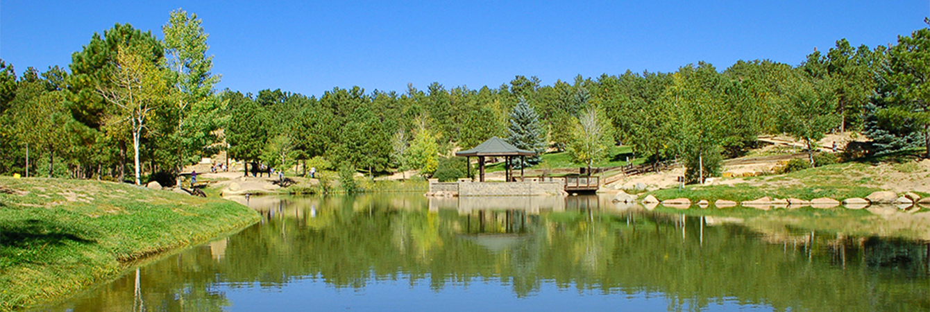 Gazebo and pond at Fox Run Regional Park