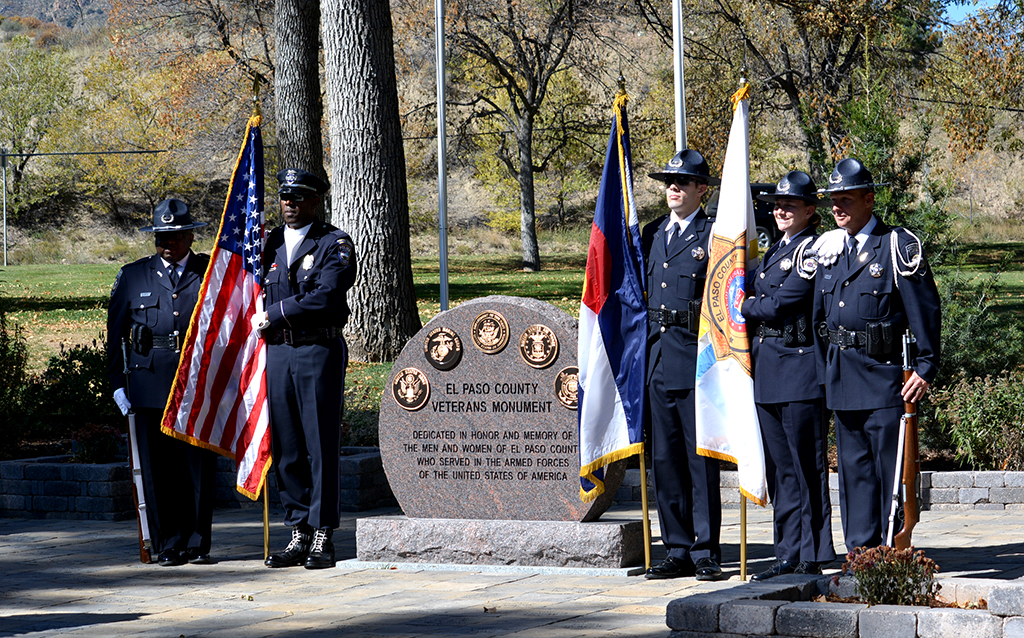 veterans monument color guard