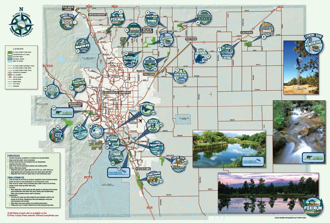Click on the El Paso County Parks map for a PDF version