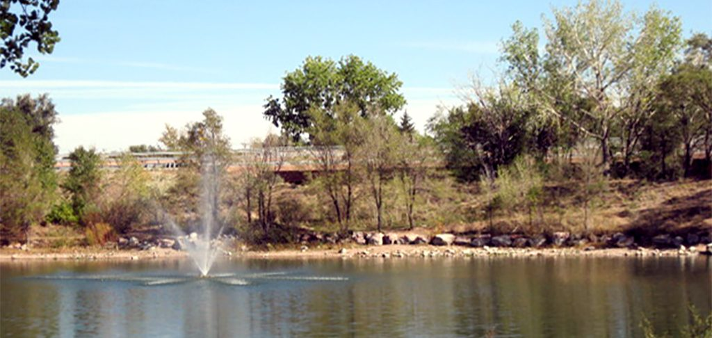 Willow Springs Pond and fishing area fountain