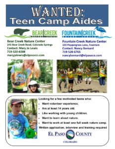 Teen Camp Aides Flyer for the Nature Centers